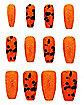 Orange Glitter Press On Nails