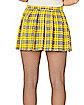 Adult Yellow Plaid Plus Size Skirt