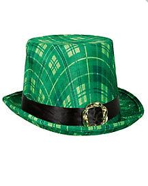 Green Plaid Top Hat