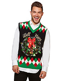 Light Up Wreath Well Hung Ugly Christmas Sweater Vest
