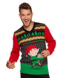 Flask Elf Ugly Christmas Sweater