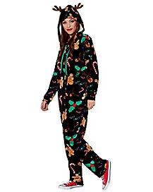 Adult Bah Humbug Reindeer One Piece Pajamas