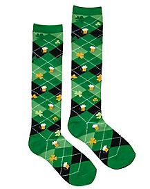 Shamrock Beer Argyle St. Patrick's Day Knee High Socks