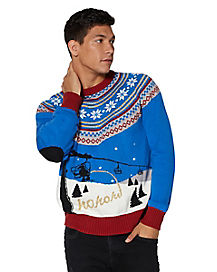 Ski Lift Peeing Santa Ugly Christmas Sweater