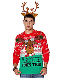 Light Up Angry Reindeer Ugly Christmas Sweater