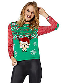 Get Blitzened Reindeer Light Up Ugly Christmas Sweater