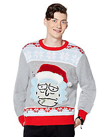 Santa Hat Rick Ugly Christmas Sweater - Rick and Morty