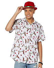 Reindeer Beer Pong Button Down Shirt