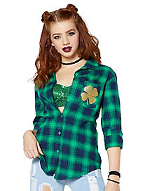 Shamrock Lucky Bitch Flannel Shirt