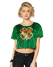 Shamrock Sequin Cropped Jersey
