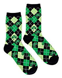 Argyle Shamrock St. Patrick's Day Crew Socks