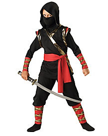 Kids Red and Gold Ninja Warrior Costume