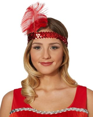 1920s Hairstyles History- Long Hair to Bobbed Hair Red Feather Headband by Spirit Halloween $5.99 AT vintagedancer.com