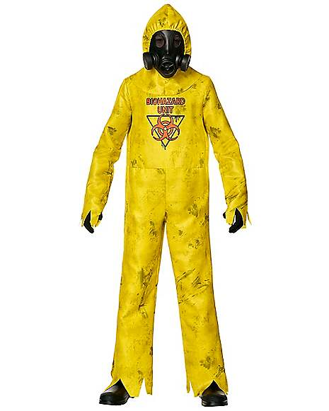 Boys Toxic Waste Costume Hazard Hazmat Halloween Fancy Dress Kids Gas Mask