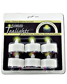 Flameless White LED Tea Lights 6 Pack
