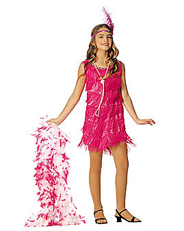 Kids Hot Pink Flapper Costume