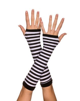 Vintage Style Gloves- Long, Wrist, Evening, Day, Leather, Lace White and Black Striped Arm Fingerless Gloves by Spirit Halloween $6.99 AT vintagedancer.com