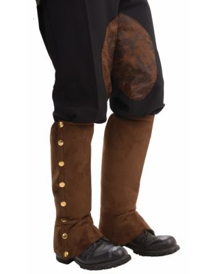 Steampunk Boots and Shoes for Men Brown Suede Steampunk Boot Covers by Spirit Halloween $10.99 AT vintagedancer.com