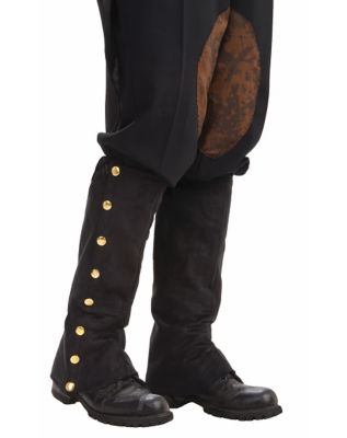 Steampunk Boots and Shoes for Men Black Suede Steampunk Boot Covers by Spirit Halloween $10.99 AT vintagedancer.com