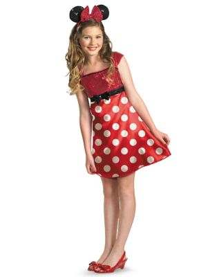 60s 70s Kids Costumes & Clothing Girls & Boys Tween Red Minnie Mouse Dress Costume - Disney by Spirit Halloween $44.99 AT vintagedancer.com