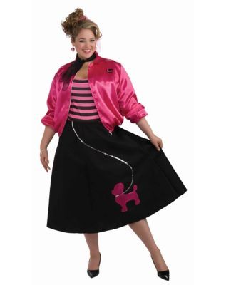 1950s Costumes- Poodle Skirts, Grease, Monroe, Pin Up, I Love Lucy Adult Poodle Skirt Set Plus Size Costume by Spirit Halloween $39.99 AT vintagedancer.com