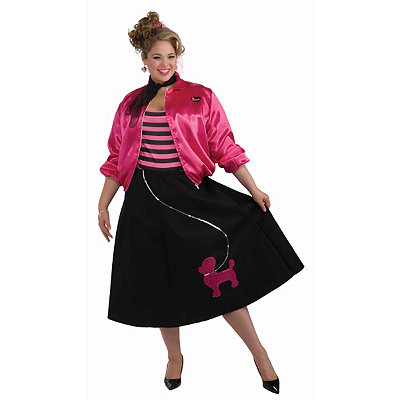 1950s Skirts; Pinup, Poodle, Pencil, Swing & Circle Skirts Adult Poodle Skirt Set Plus Size Costume $39.99 AT vintagedancer.com