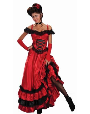 Victorian Costumes: Dresses, Saloon Girls, Southern Belle, Witch Adult Saloon Sweetie Costume by Spirit Halloween $49.99 AT vintagedancer.com