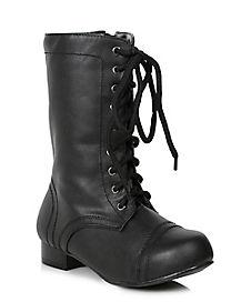 Kids Black Combat Boots