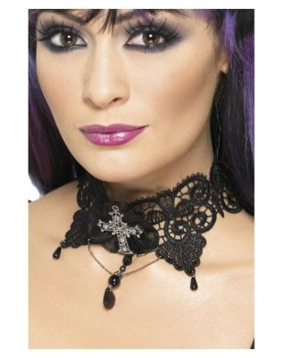 Victorian Jewelry: Rings, Earrings, Necklaces, Hair Jewelry Gothic Lace Choker by Spirit Halloween $12.99 AT vintagedancer.com
