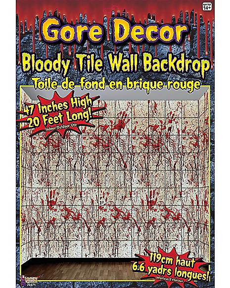 Spirit Halloween Wall Decor : Gore bloody tile wall d?cor decorations