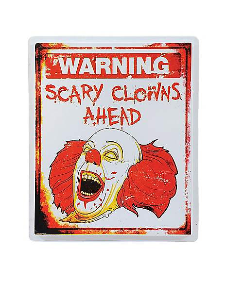Spirit Halloween Wall Decor : Inch scary clown warning sign decorations