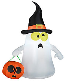 3.5 ft Ghost with Witch Hat Inflatable - Decorations