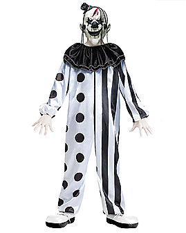 Kids Black and White Killer Clown Costume