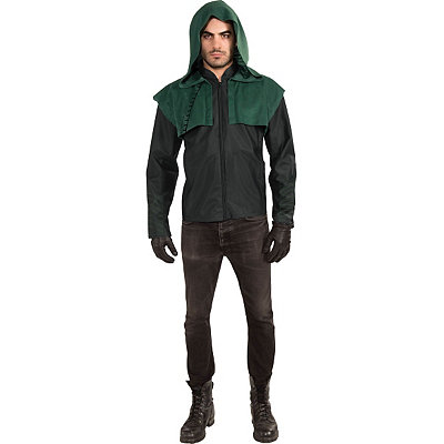 1940s Men's Costumes: WW2, Sailor, Zoot Suits, Gangsters, Detective Hoodie and Gloves Arrow Costume Deluxe- Arrow $54.99 AT vintagedancer.com