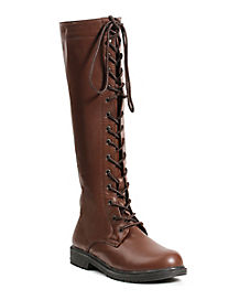 Brown Lace Up Knee High Boots