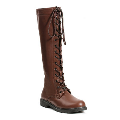 Steampunk Boots & Shoes Brown Lace Up Knee High Boots $69.99 AT vintagedancer.com