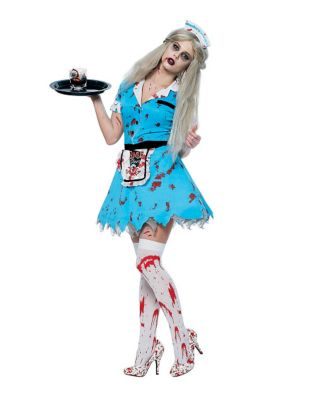 1950s Costumes- Poodle Skirts, Grease, Monroe, Pin Up, I Love Lucy Adult Bloody Waitress Zombie Costume by Spirit Halloween $39.99 AT vintagedancer.com