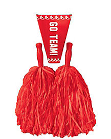 Red Pom Poms and Megaphone