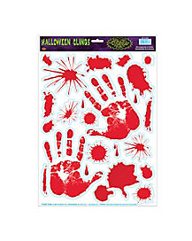 bloody hands window cling decorations - Bloody Halloween Decorations