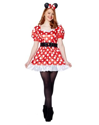 1950s Costumes- Poodle Skirts, Grease, Monroe, Pin Up, I Love Lucy Adult Red Minnie Mouse Costume - Disney by Spirit Halloween $39.99 AT vintagedancer.com
