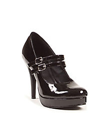 Black Double Strapped Mary Jane Heels