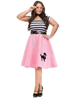 Poodle Skirts | Poodle Skirt Costumes, Patterns Adult Soda Shop Sweetie Plus Size Costume by Spirit Halloween $39.99 AT vintagedancer.com