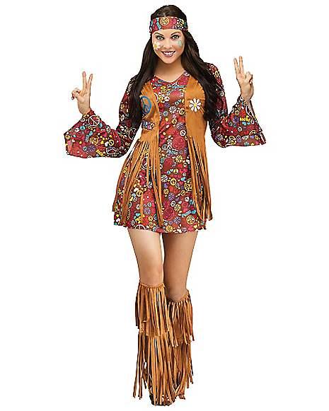Hippie Costume Adult Halloween Fancy Dress