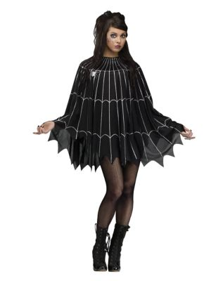 1950s Costumes- Poodle Skirts, Grease, Monroe, Pin Up, I Love Lucy Adult Spider Web Poncho Costume by Spirit Halloween $19.99 AT vintagedancer.com