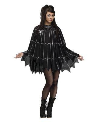 Vintage Retro Halloween Themed Clothing Adult Spider Web Poncho Costume by Spirit Halloween $19.99 AT vintagedancer.com