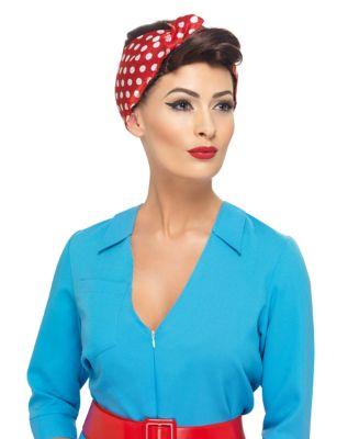 Vintage Hair Accessories: Combs, Headbands, Flowers, Scarf, Wigs Rosie Wig With Scarf by Spirit Halloween $29.99 AT vintagedancer.com