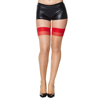 1950s Lingerie History – Bras, Girdles, Slips, Panties, Garters Cuban Thigh High Stockings Red and Nude $12.99 AT vintagedancer.com