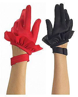 Red and Black Twist Clown Gloves