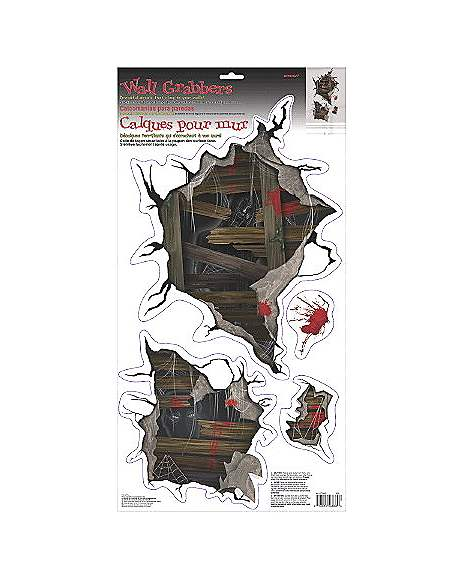 Spirit Halloween Wall Decor : Haunted mansion broken board clings decorations