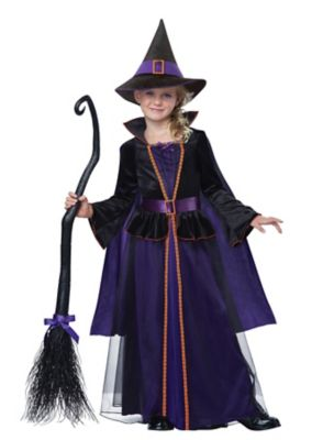 Victorian Kids Costumes & Shoes- Girls, Boys, Baby, Toddler Kids Long Velvety Tulle Witch Costume by Spirit Halloween $49.99 AT vintagedancer.com